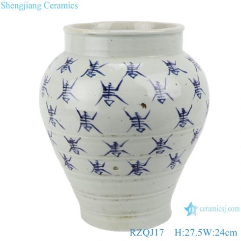 RZQJ17 Jingdezhen hand painted character white color old style flower pot planter