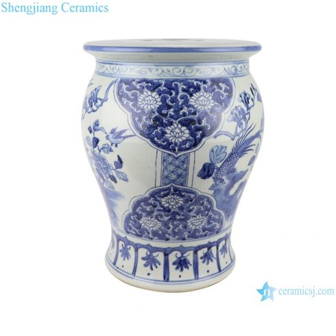 RZSC08 Antique blue and white Peony flower bird hand-painted porcelain small garden drum stool