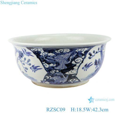 RZSC09 Hand painted blue and white porcelain flower and bird patterns fish tank garden pot