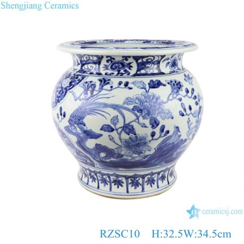 RZSC10 ancient blue and white porcelain ware Hand painted fish tank with flower and bird pattern