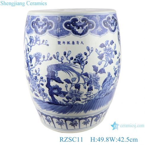 RZSC11 Antique blue and white porcelain garden drum stool with hand painted flowers and birds pattern
