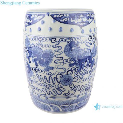 RZSC12-A/B Antique blue and white porcelain hand-painted lion figures ceramic garden drum stool