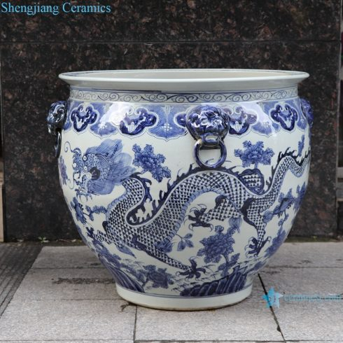RZSC13-A/B Antique blue and white Hand painted fish tank with double ears and hand painted dragon pattern