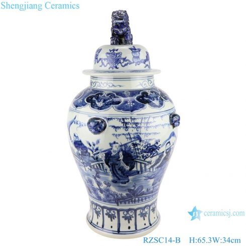 Blue and white porcelain general jar with hand drawn figures in Chinese style