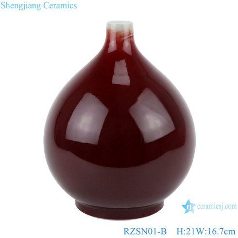 RZSN01-B Jingdezhen handmade color glazed dark red decorative porcelain vase