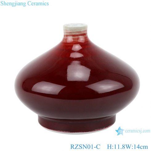 RZSN01-C Classic Jingdezhen crystal color glazed dark red decorative porcelain vases